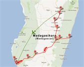 Carte du circuit Meltour 2 semaines à Madagascar