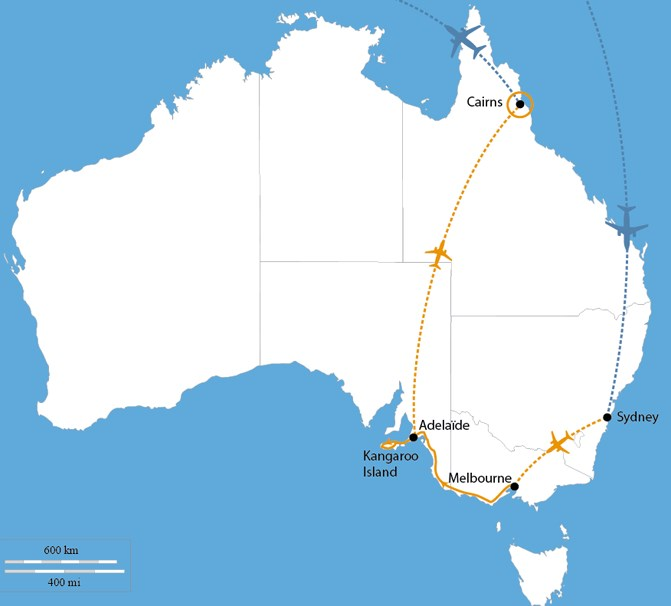 Carte circuit l'Australie en Version originale