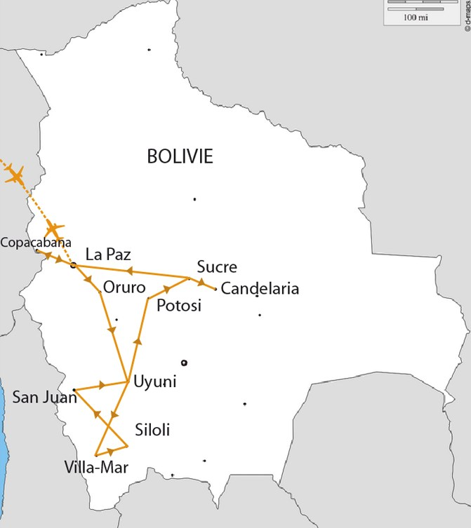 Carte L'essentiel de la Bolivie