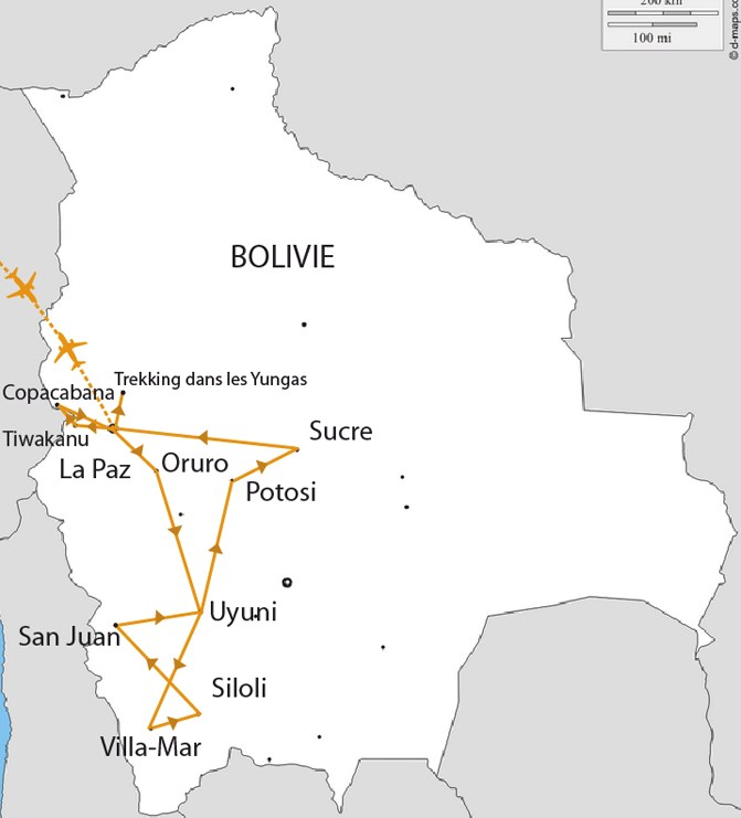 Carte Trek en Bolivie